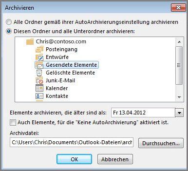 """Dialogfeld """"Archivieren"""""""