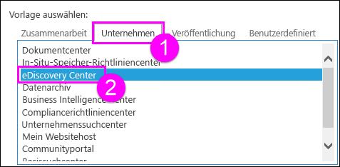 """Websitesammlungsvorlagen auf der Registerkarte """"Enterprise"""""""
