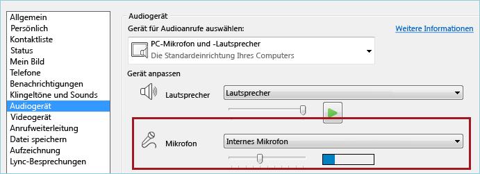 Screenshot der Mikrofonüberprüfung in Lync Audio