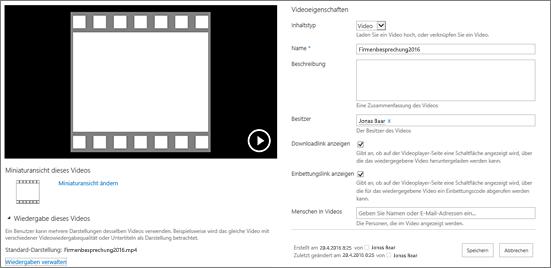 """Eigenschaftenseite """"Video"""""""