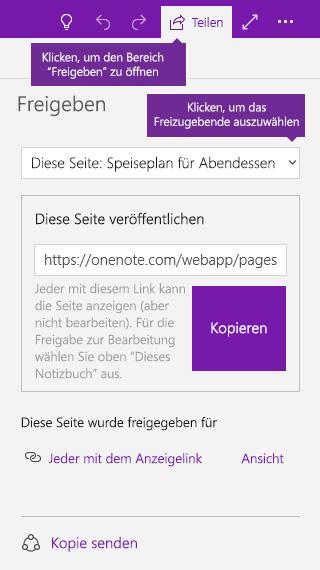 Screenshot der Freigabe einer einzelnen Seite in OneNote