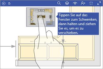 Tippen Sie auf das Verschiebefenster, halten Sie den Finger gedrückt, und ziehen das Fenster dann zum Verschieben über den Bildschirm.