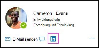LinkedIn-Symbol auf der Profilkarte
