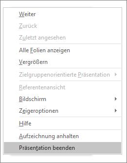 """Zeigt die Option """"Präsentation beenden"""" in PowerPoint."""
