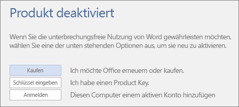 "Screenshot der Fehlermeldung ""Produkt deaktiviert"""
