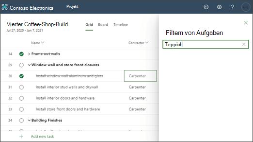 Screenshot eines Projekts, das auf den Inhalt einer Spalte gefiltert wurde