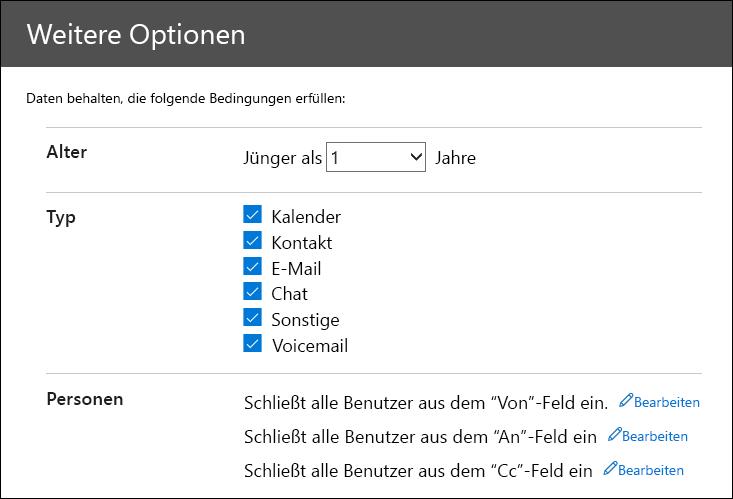 """Konfigurieren der Filter auf der Seite """"Weitere Optionen"""" zum Zuschneiden der zu importierenden Daten"""