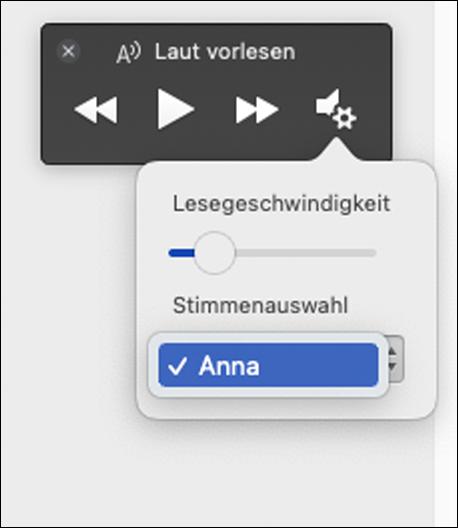 """Vier Optionen für die Sprachauswahl in Plastischer Reader für das Feature """"Laut vorlesen"""""""