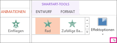 Startprogramm für das Dialogfeld auf der Registerkarte 'Animationen'