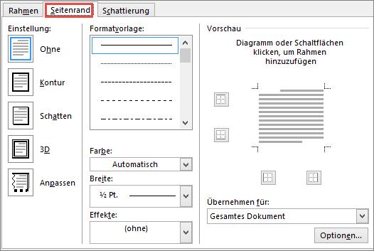 """Word 2010, Registerkarte """"Seitenrand"""" im Dialogfeld """"Rahmen und Schattierung"""""""