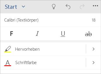 Screenshot des Menüs für Textformatierung in Word Mobile