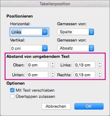 """Legen Sie den Abstand zwischen der markierten Tabelle und dem Textkörper unter """"Abstand von umgebendem Text"""" fest."""