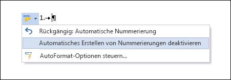 Die Nummerierungsoptionen werden unter AutoKorrektur angezeigt.