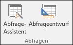 """In der Gruppe """"Abfragen"""" im Access-Menüband werden zwei Optionen angezeigt: """"Abfrage-Assistent"""" und """"Abfrageentwurf"""""""