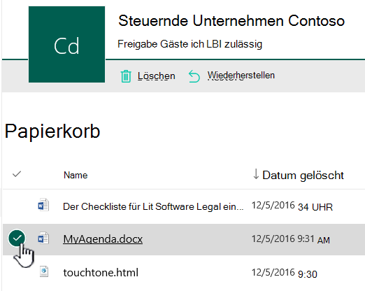 Papierkorb in SharePoint Online mit hervorgehobenem Element