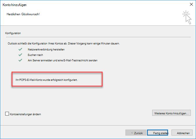Outlook fügt ein Konto als POP-Konto hinzu