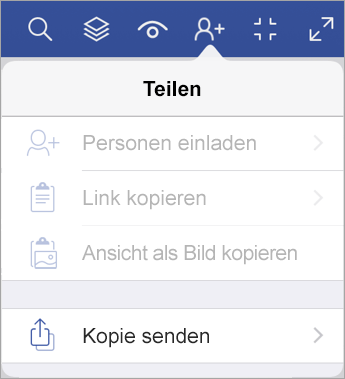Senden einer Kopie einer Datei in Visio Viewer für iPad