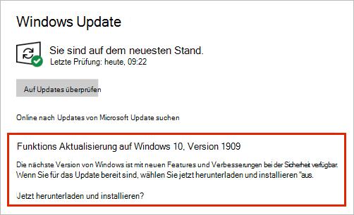 Windows Update mit Funktions Update Platzierung