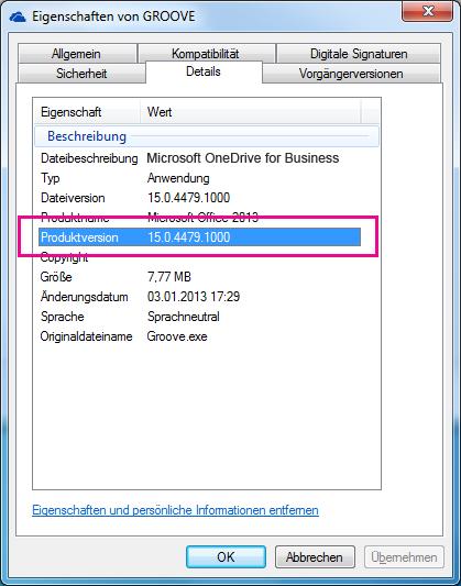 "Das Eigenschaftendialogfeld ""groove.exe"" zeigt die Produktversion der OneDrive for Business-Synchronisierungs-App an."