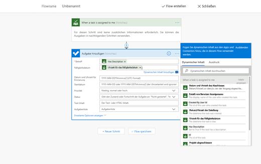 Screenshot mit Option zum Hinzufügen dynamischer Inhalte