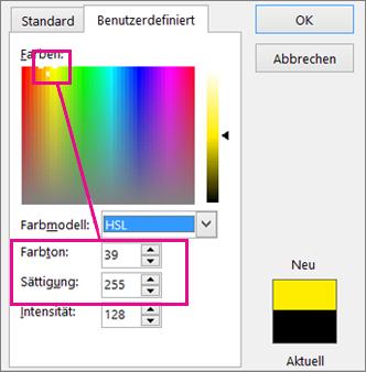 Auswahl in Farben Rechteck legt Farbton und Sättigung