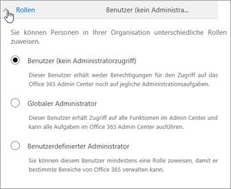 """Erweitern Sie """"Rollen"""", wenn Sie dem Benutzer Administratorrechte zuweisen möchten."""