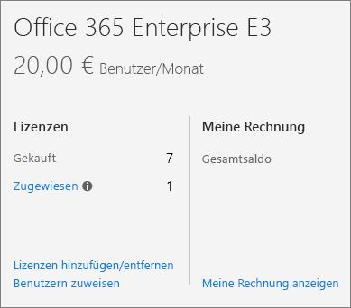 """Link """"Lizenzen hinzufügen/entfernen"""" im Office 365 Admin Center."""
