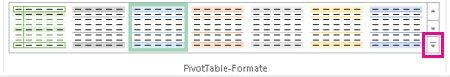 Schaltfläche 'Weitere' im Katalog 'PivotTable-Formate'