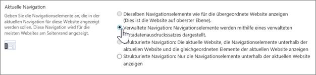 """Abschnitt """"Aktuelle Navigation"""", verwaltete Navigation ausgewählt"""