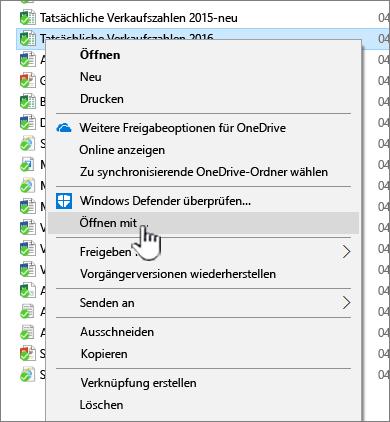 """Kontextmenü, """"Öffnen mit"""" ausgewählt."""