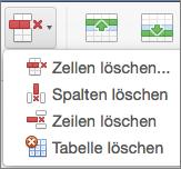"""Office für Mac, """"Tabelle löschen"""""""