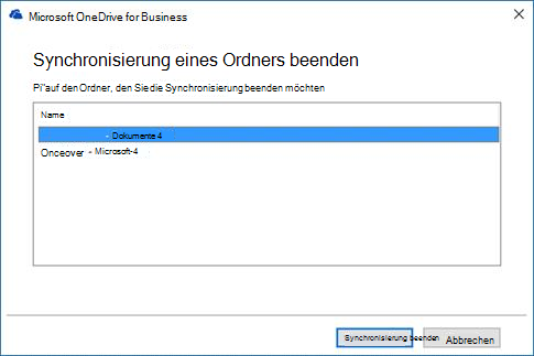 OneDrive for Business - Synchronisierungs-Dialogfeld beenden