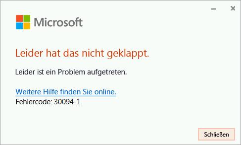 Fehlercode 30094-4 bei der Installation von Office