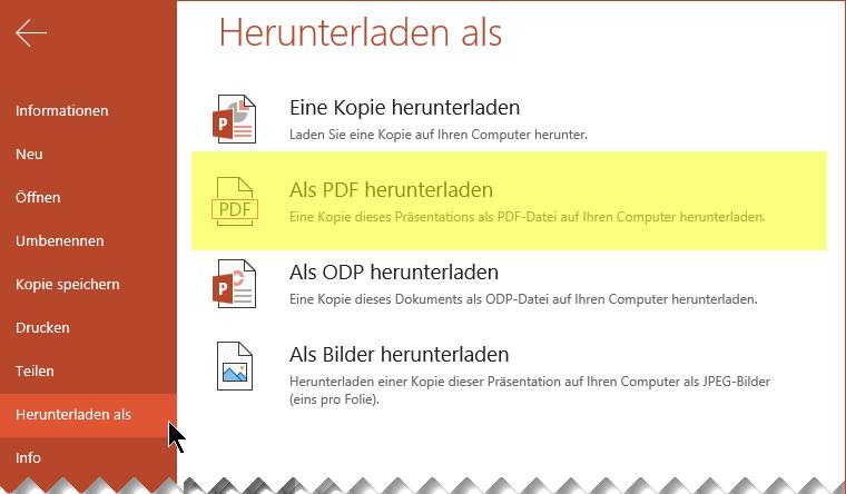 Wählen Sie Datei > herunterladen als > als PDF herunterladen aus.