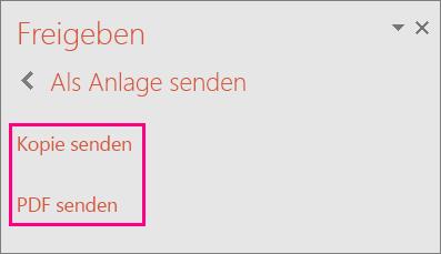 """Zeigt den Link """"PDF senden"""" in PowerPoint 2016 an"""