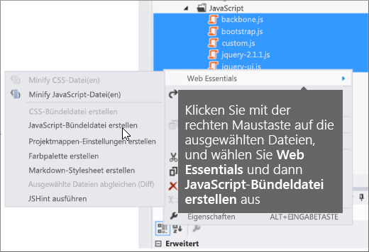 Screenshot mit Web Essentials Menüoptionen