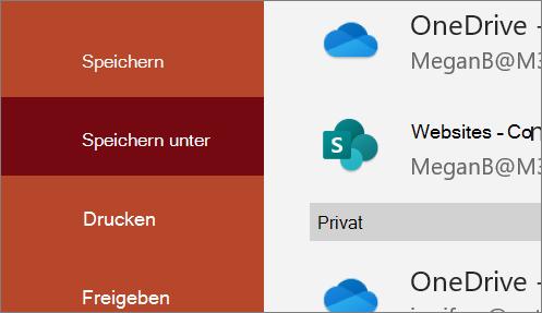 Bildschirm ' Speichern unter ' mit Optionen