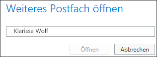 Outlook Web App-Dialogfeld 'Weiteres Postfach öffnen'