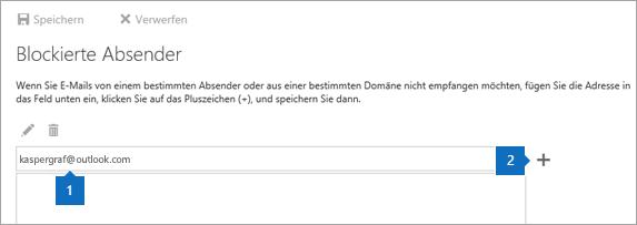 Ein Screenshot der Seite Blockierte Absender.