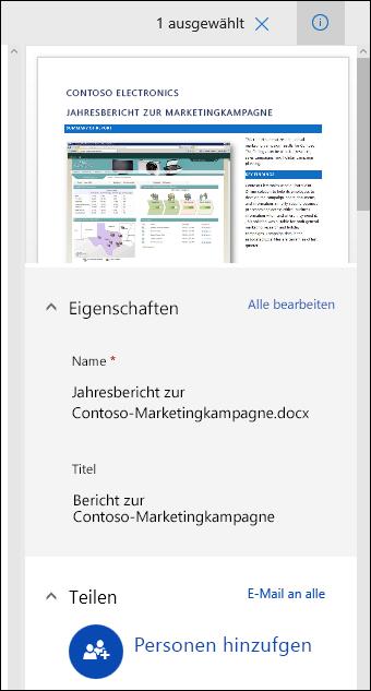 Office365-Bereich für Dokumentmetadaten