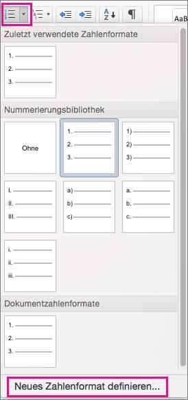 """Auf der Registerkarte """"Start"""" sind das Symbol """"Nummerierung"""" und """"Neues Zahlenformat definieren"""" hervorgehoben."""