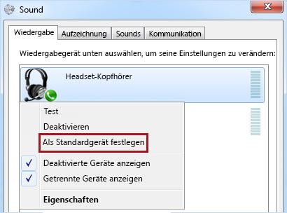 Gerät unter Windows als Standard festlegen