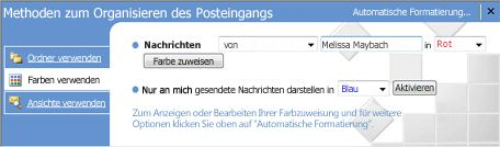 "Bereich ""Organisieren"" in Microsoft Office Outlook 2007"