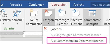 Hervorgehobene Option 'Alle Kommentare im Dokument löschen' auf der Registerkarte 'Überprüfen'