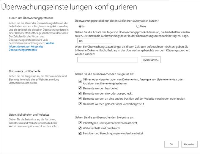 Konfigurieren von überwachungseinstellungen in das Dialogfeld ' Websiteeinstellungen '