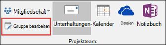 Bearbeiten einer Gruppe in Outlook 2016