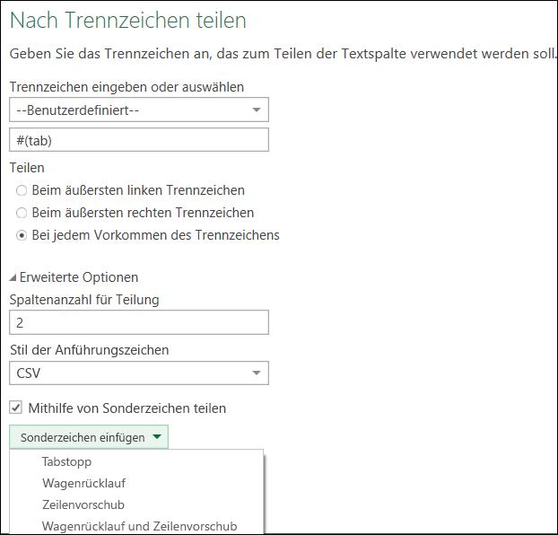 """Power Query – Unterstützung für Sonderzeichen in """"Spalte teilen"""""""