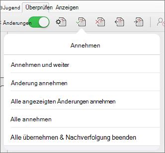 """Menü """"Änderungen annehmen"""""""