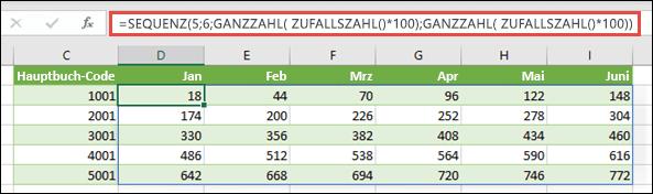 Beispiel für SEQUENZ, geschachtelt mit GANZZAHL und ZUFALLSZAHL, zum Erstellen eines Beispiel-Datasets