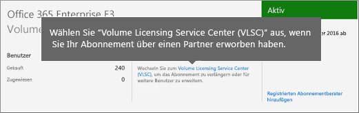 "Link ""Volume Licensing Service Center"" (VLSC)."